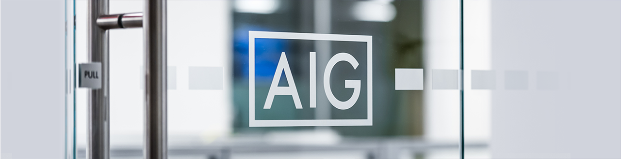 AIG logo on an office door